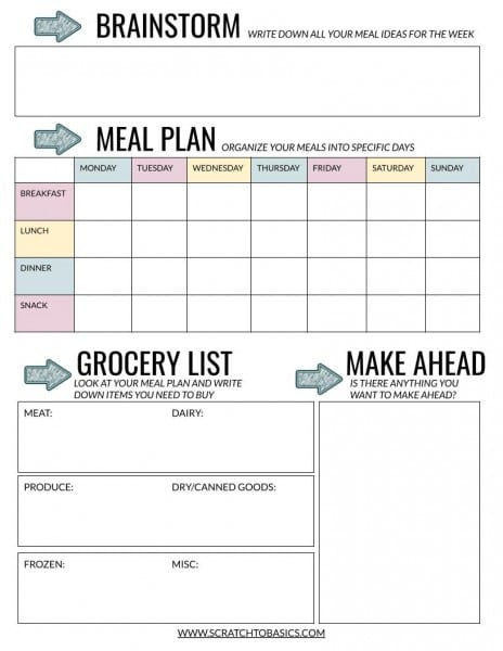 Meal planning worksheet template with a space for brainstorming, planning, grocery list, and planning what to make ahead.