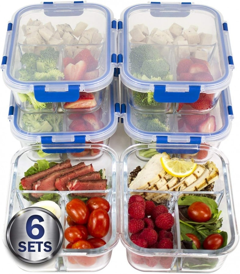 Meal prep containers with sections