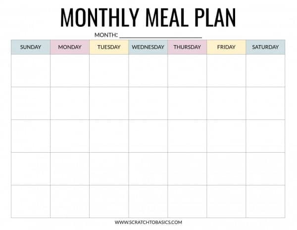 Monthly meal planning calendar