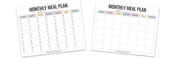 Monthly meal planning template preview