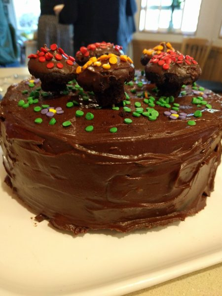 chocolate avocado frosting on mushroom birthday cake