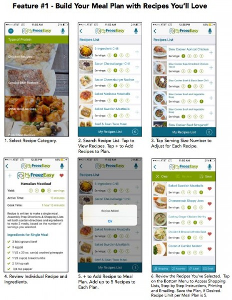 My FreezEasy has an app that's easy to use for a meal planning template