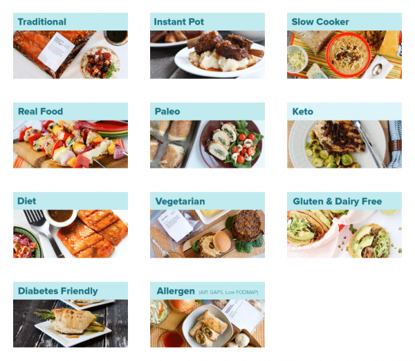 Meal categories for Once a Month Meals