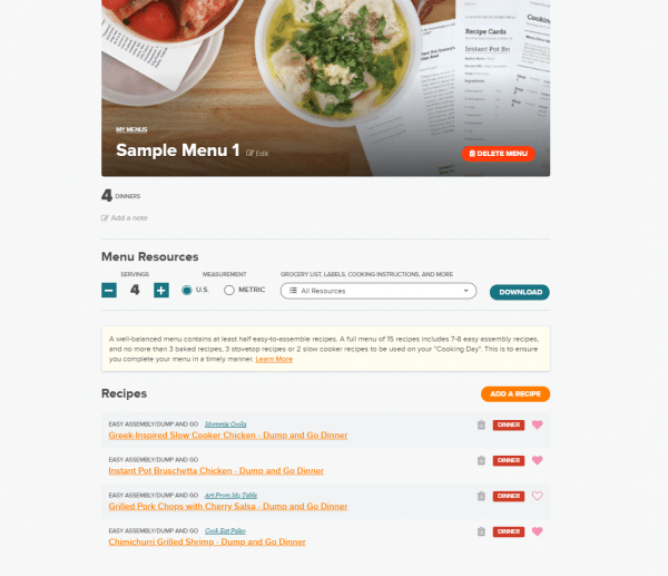 Screen shot of a sample menu for once a month meals