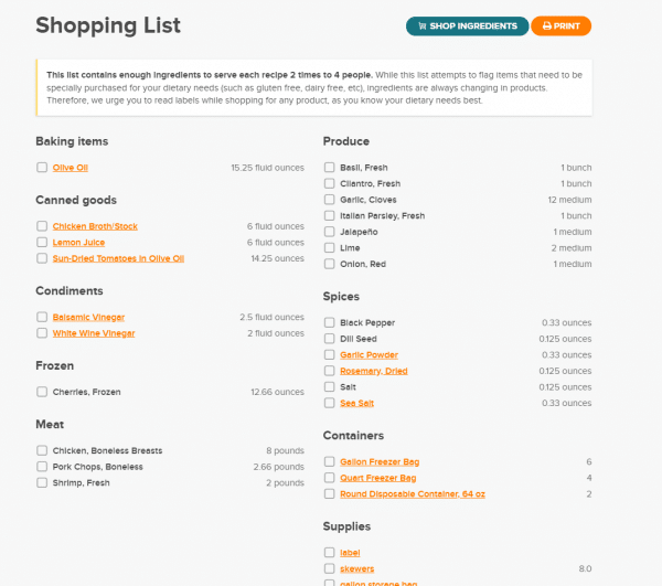 Screen shot of shopping list