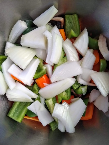 after the peppers, add the diced onion