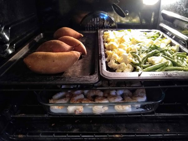Prep work and dinner cooking in the oven.
