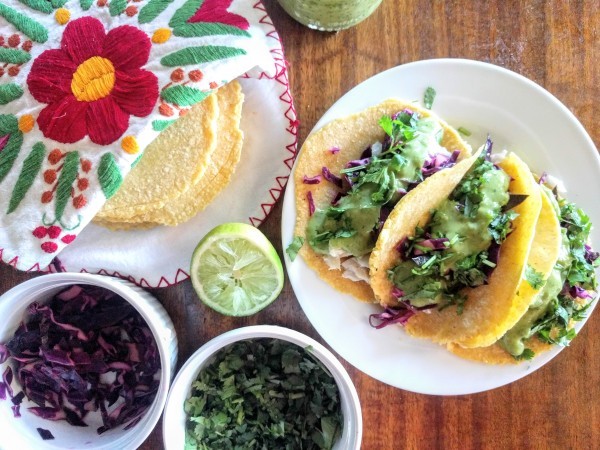 Tortillas, fish, cabbage, and creamy avocado lime sauce. Fish tacos are ready!
