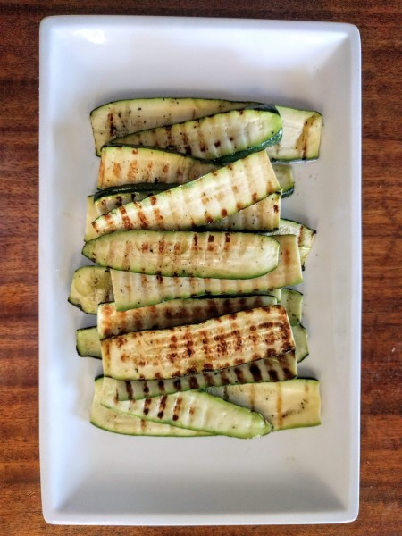 Grilled zucchini goes great with BBQ grilled chicken in this gluten free meal plan.