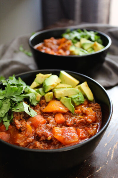 two bowls of paleo beef chili