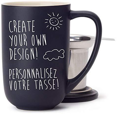 Personalized tea mug with steeper