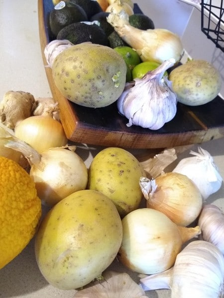 Before we bought produce holding baskets, our produce was cluttering the counter.