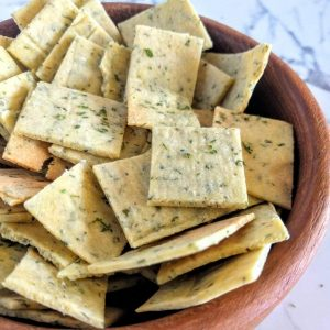 Close up of a bowl of homemade ranch crackers