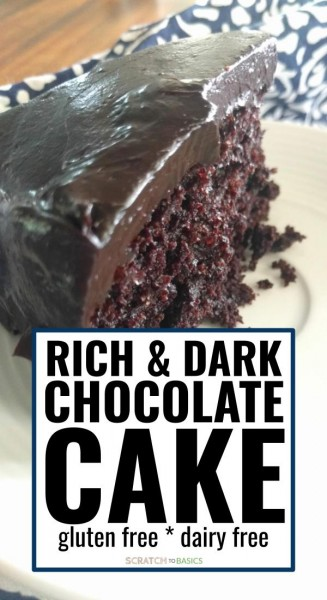 A slice of rich & dark chocolate cake that's gluten free and dairy free.