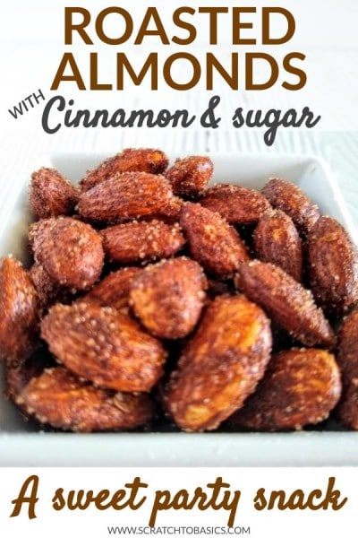 cinnamon sugar almonds in white bowl.
