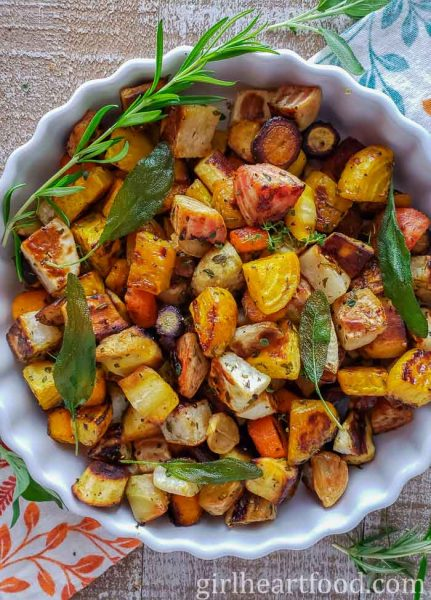 Roasted root vegetables by Girl Heart Food