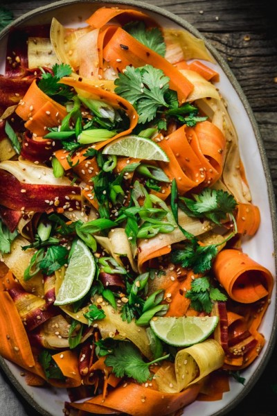 Shaved rainbow carrot sesame salad