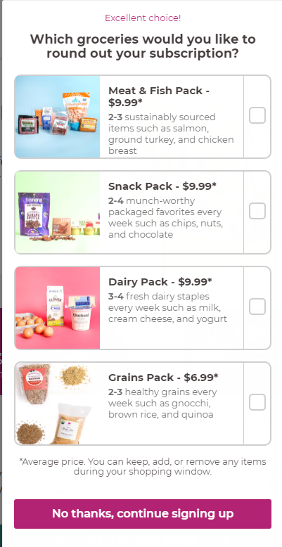 Imperfect Foods Add-on items