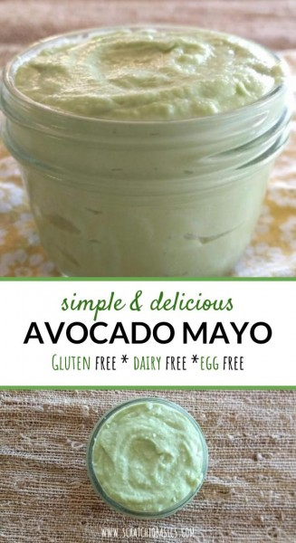 A vegan, gluten free, and dairy free mayo substitute made with avocados.