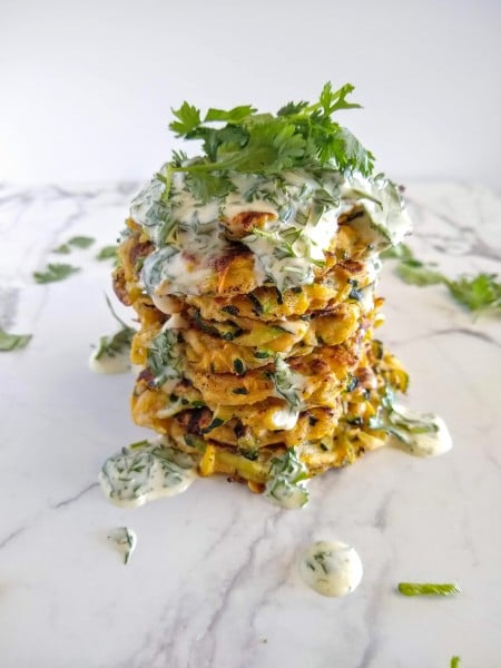 Zucchini fritters with cilantro lime mayo