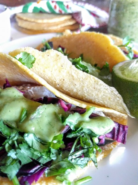Fish tacos with creamy avocado lime sauce