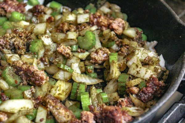 Ground pork with onions and celery