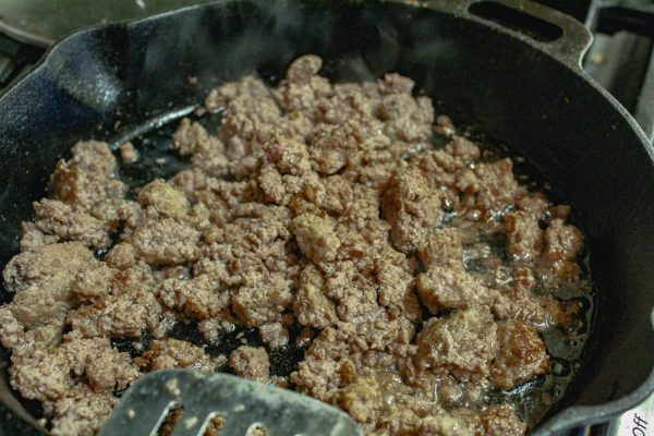 Ground pork cooked in skillet