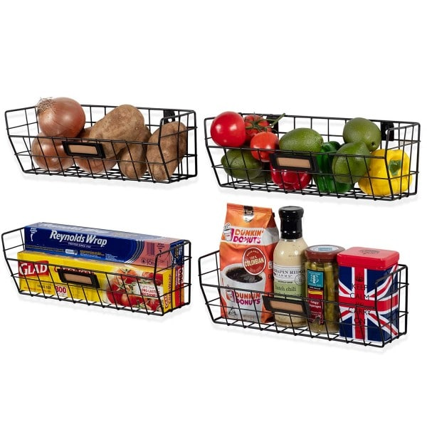 Produce baskets for the wall.