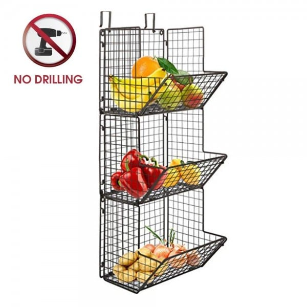 Hang this basket over the pantry door to organize your produce.
