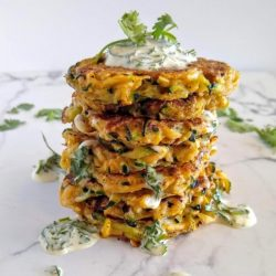 Fiesta Zucchini Fritters With Cilantro Mayo Sauce {Paleo, GF, DF, Whole 30}